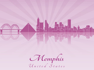 Memphis skyline in purple radiant orchid