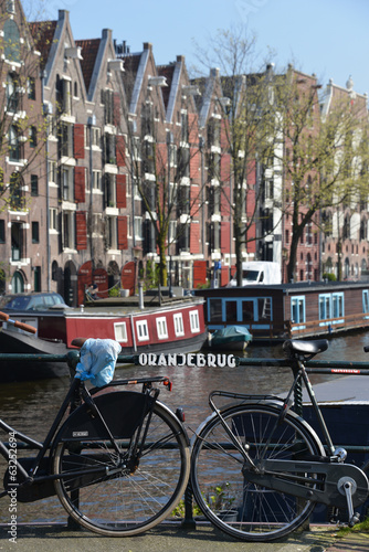 Bikes on a bridge, Amsterdam, Holland
