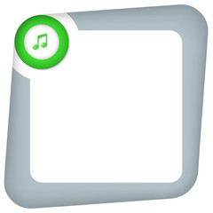 abstract box for entering text with green music icon