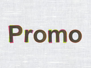 Advertising concept: Promo on fabric texture background
