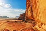 Red sandstone cliff in the desert of Wadi Rum