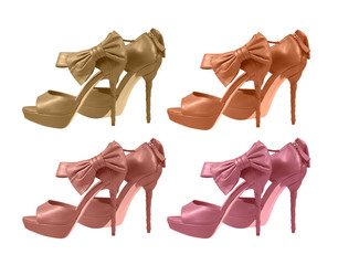 shoes with a bow on a white background. pastels