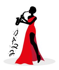 silhouette di donna che suona il sax