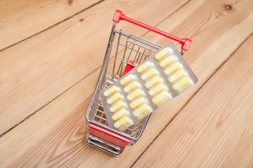 tabletten im einkaufswagen