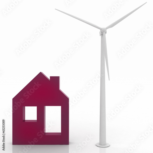 House icon with wind turbine , environmentally friendly