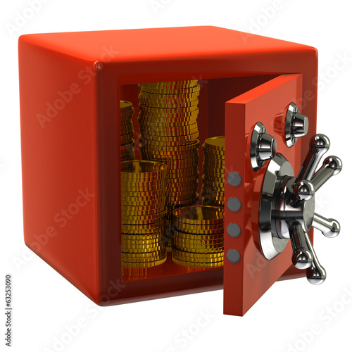 Orange security safe with gold coins