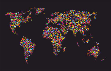 Grunge colourful collage of world map on black background