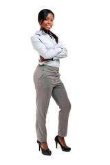 Smiling black businesswoman full length