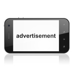 Advertising concept: Advertisement on smartphone