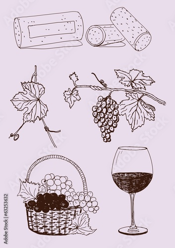 vector wine set with grapes