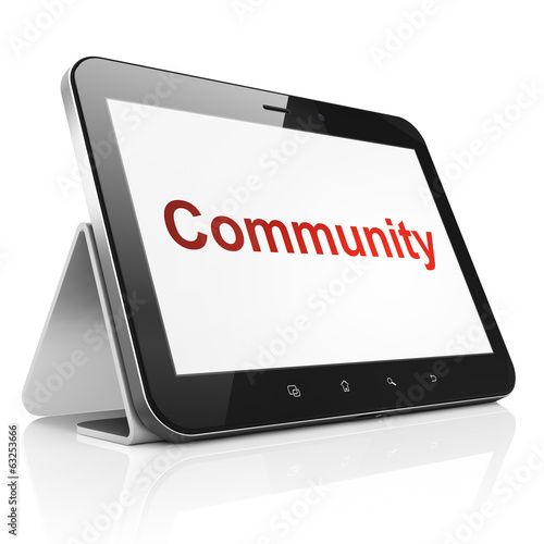 Social network concept: Community on tablet pc computer