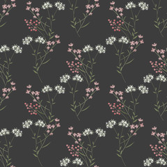 Cute branches of flowers seamless pattern texture on grey