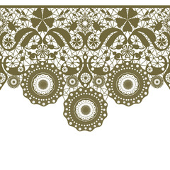 Green seamless lacy lace pattern on white