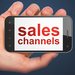 Marketing concept: Sales Channels on smartphone