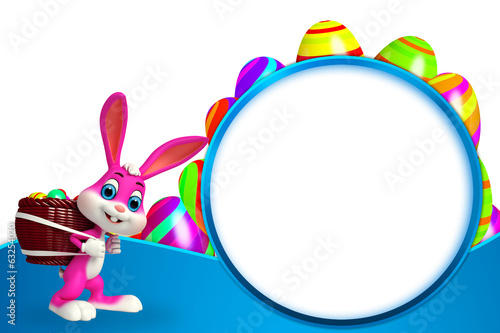 cute easter bunny with egg basket