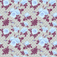 Roses on dotted seamless pattern