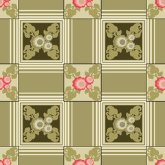 Patchwork seamless green floral pattern background