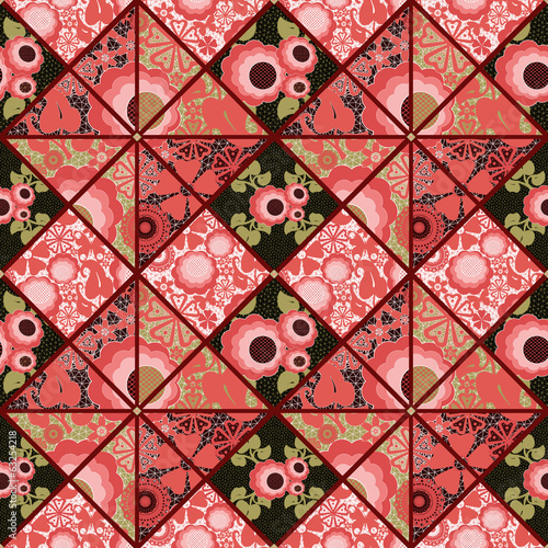 Patchwork seamless retro red floral pattern