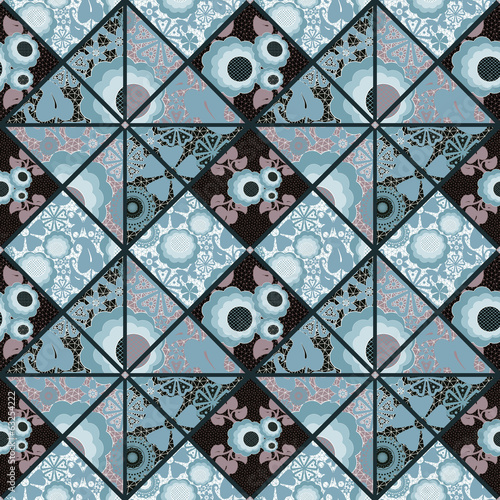 Patchwork seamless retro blue floral pattern