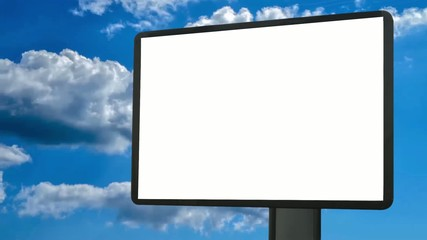 Blank billboard. Looping clouds