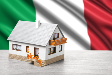 classic house against Italian flag background