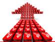 Стрелка из красных кубиков с надписью 80% на светлом фоне