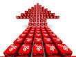 Стрелка из красных кубиков с надписью 90% на светлом фоне