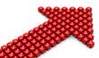 Стрелка из красных кубиков с надписью 10% на светлом фоне