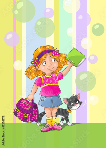 Template greeting card with schoolgirl and cat