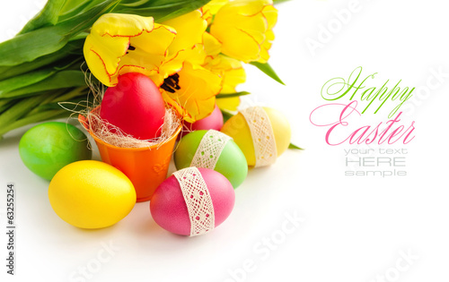 Easter eggs with tulips on white background (with sample text)