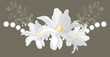 Decorative element with shining stasses and white flowers