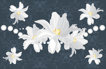 Dark blue ornamental background with white flowers