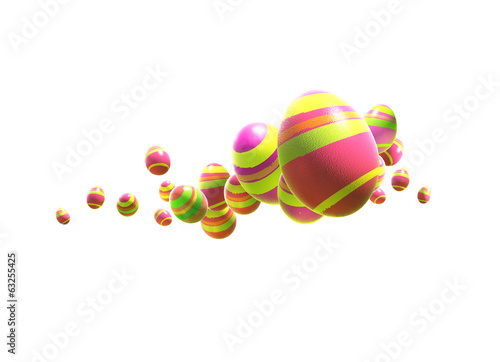 Easter eggs on an isolated white background