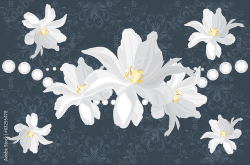 Dark blue ornamental background with white flowers