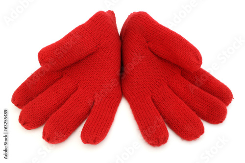 Pair of red woolen gloves