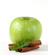 Granny Smith green apples with cinnamon and mint