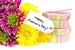 Happy Mothers Day tag with colorful flowers and gift boxes
