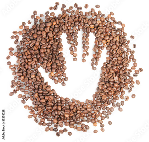 Hand Silhouette On Coffee Grains