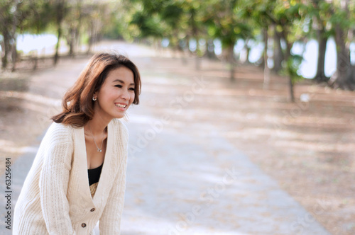 Happy woman in garden background