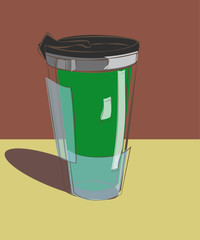 green mug thermos for hot drinks