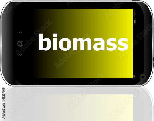 biomass word on smart mobile phone, business concept