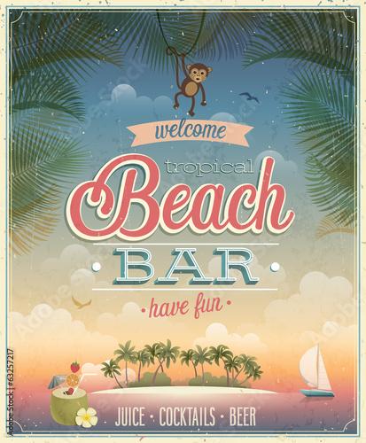 Fototapeta Vintage Beach Bar poster.