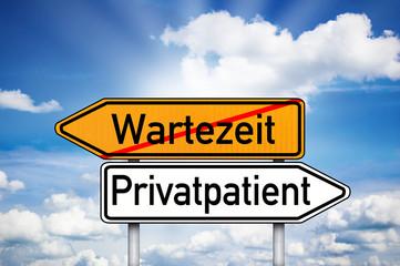 Wegweiser mit Wartezeit und Privatpatient