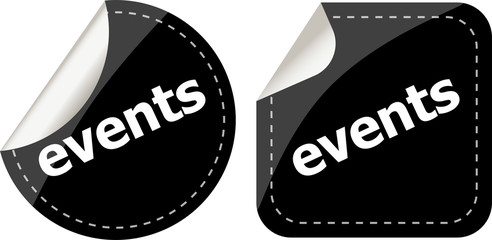 events black stickers set, icon button set