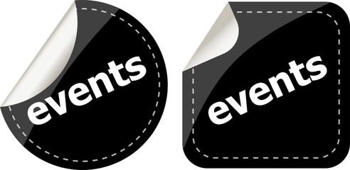 events black stickers set, icon button set