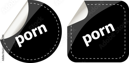 black porn stickers set on white, icon button