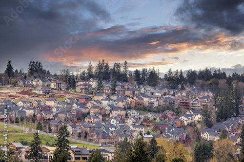 Cloudy Sunset Over North America Suburban Residential Subdivisio