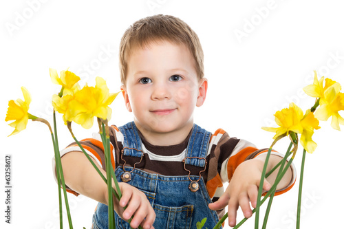 Little boy with daffodils