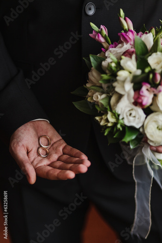 wedding rings in the hand of the groom