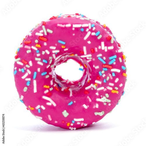 donut coated with a pink frosting and sprinkles of different col